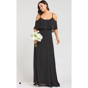 SMYM NWOT Caitlin Ruffle Maxi Dress Black M